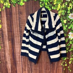 Free People: Wool Striped Double Breasted Cardigan